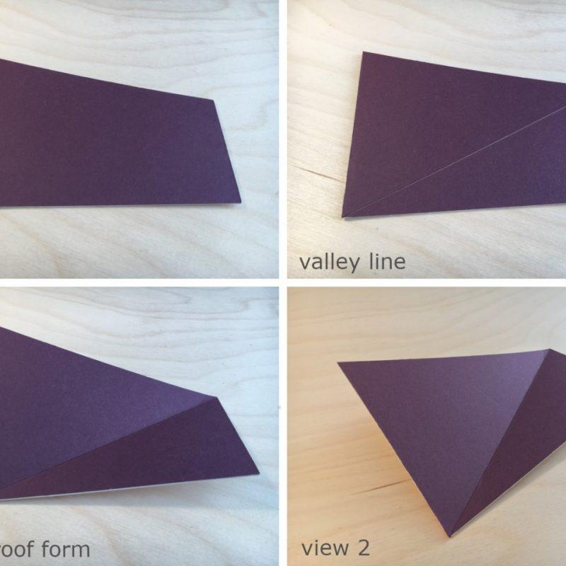 card models showing volume roof form design